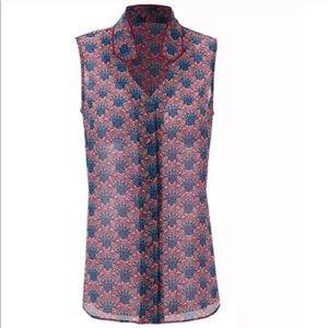 CAbi Fan Print Blouse Sleeveless Button Up 3620